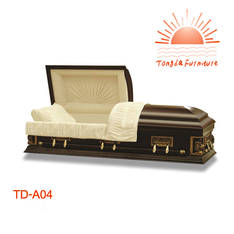 TD--A04 Funeral equipment wooden casket with metal handles