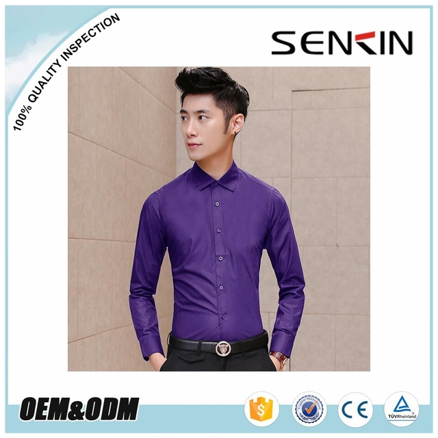 Classic Purple Color Long Sleeve Business Casual Shirt For Men