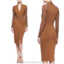 OEM Custom-made China supplier middle aged women fashion dress bodycorn brown strapped dress add belt office lady designer wear