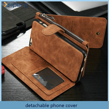 2 in 1 Retro 16 card slots detachable zipper wallet double cell phone case for samsung s6 edge