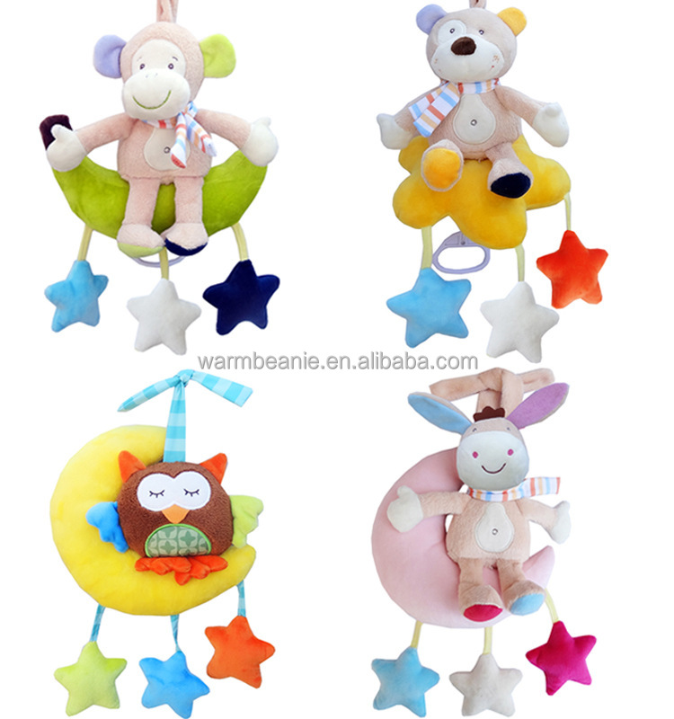 Promotional Stroller Pendant Music Bell Calming Plush Baby Toy