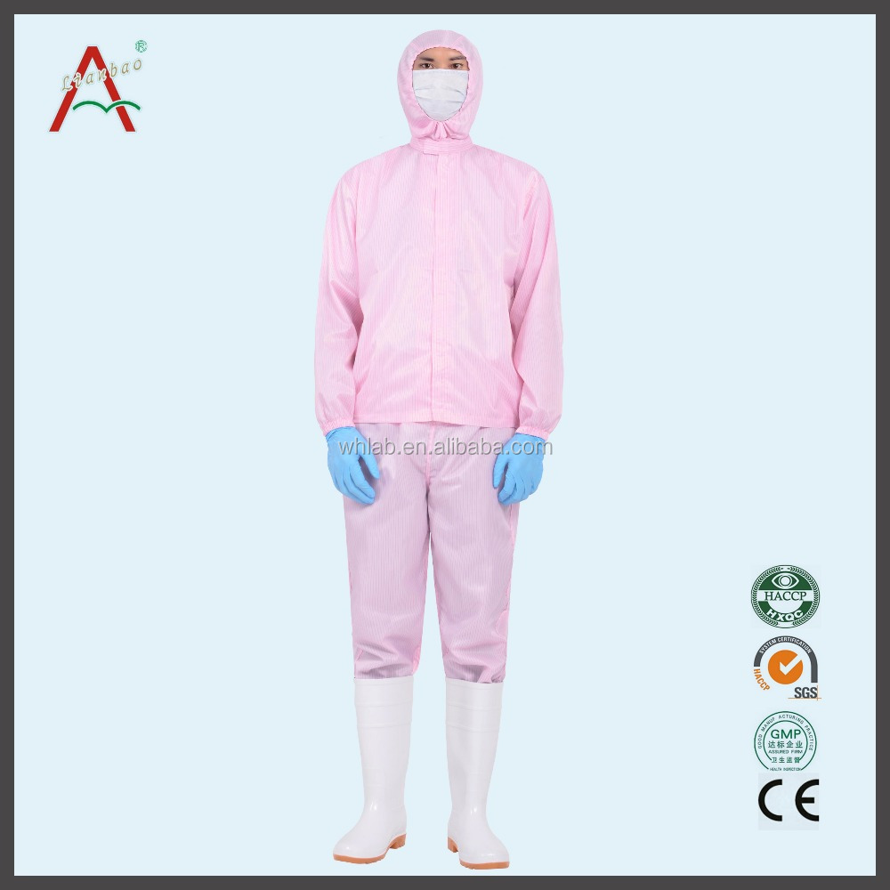 Manufacturers selling pink/ blue antistatic suit with hood and clothes With elastic cuffs ankle