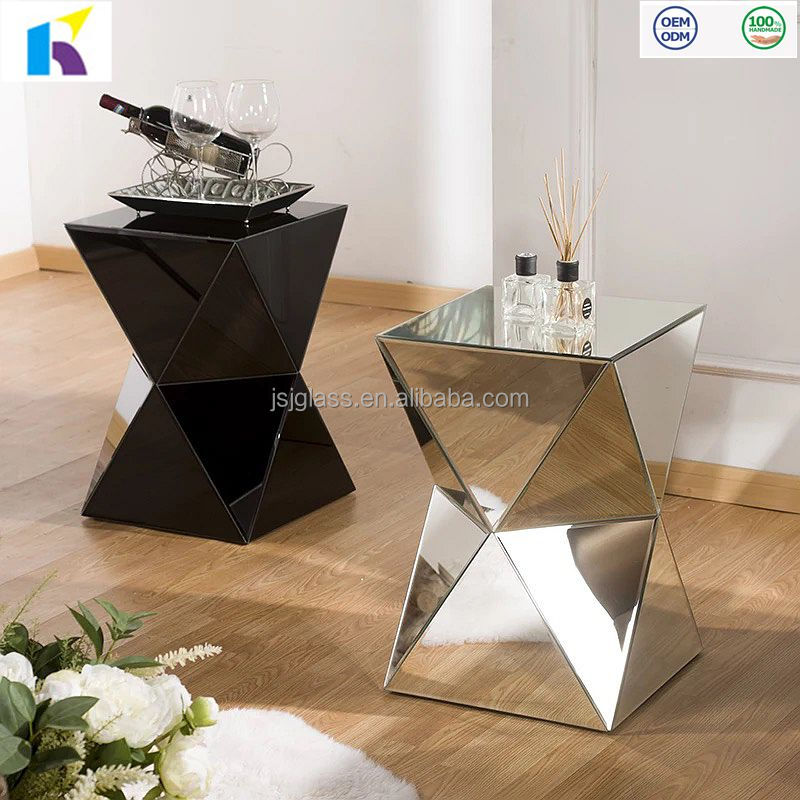 JI-002B handmade glass end table mirrored furniture