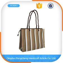 2016 Clear Tote Bag girl top grade shopping paper straw bag for handbags