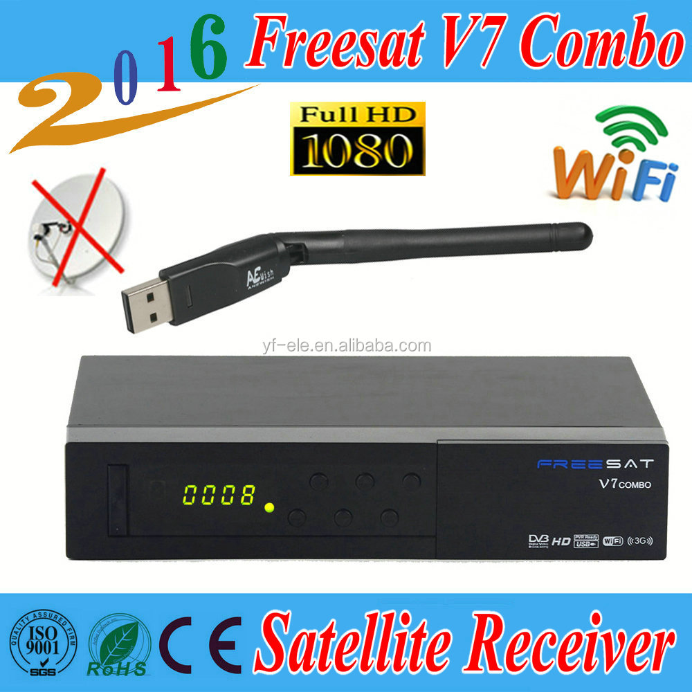 [Genuine] Freesat V7 Combo DVB S2+T2 <strong>Satellite</strong> Receiver PowerVu Biss Key Cccam Newcam Youtube USB Wifi Set Top Box,USB wifi free