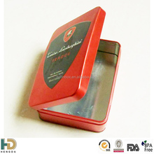 Color cosmetic tin box with hinge