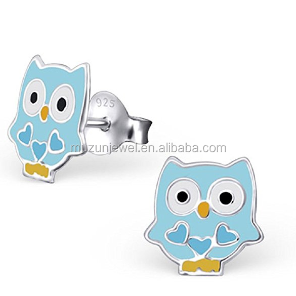 Children Earrings Light Blue Owl Jewelry 925 Sterling Silver Stud Earrings