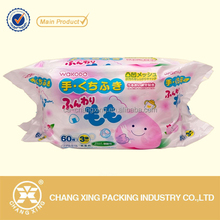 Custom design resealable soft plastic baby wet tissue packaging bag for daily use plsatic product