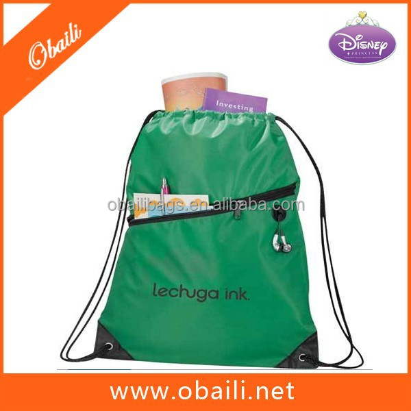 210D Polyester Drawstring Backpack With Front Diagonal Zipper Pocket/Promotional CinchPack