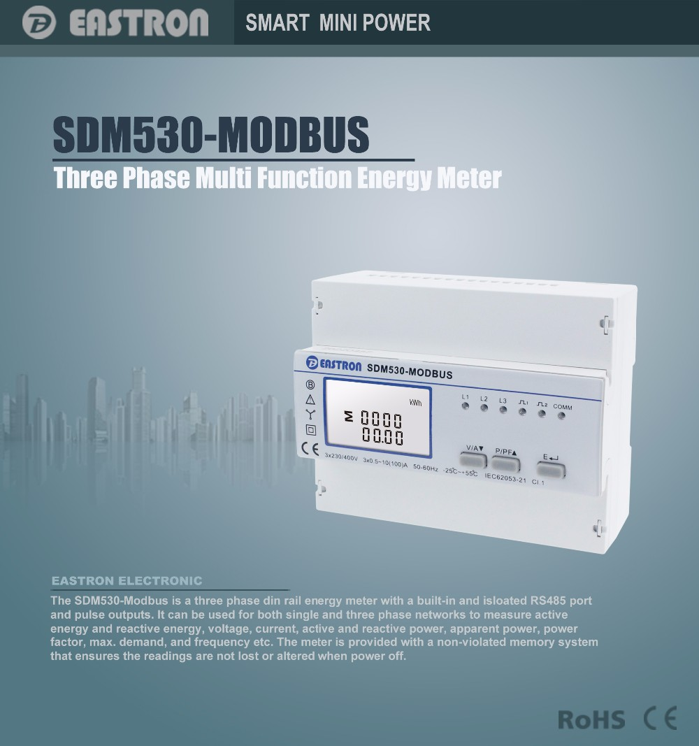 SDM530Modbus, Three phase four wire energy meter, with RS485 Modbus ...