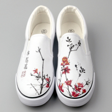 NO.G-W006 White China Hand Printed New Design Mens Canvas No Lace Shoes