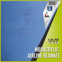 Modacrylic Airline Blanket Jacquard Logo Navy Blue color Flame Retardant Anti Static Business Class