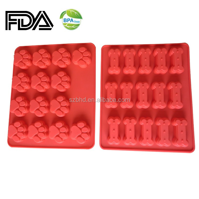 Puppy paws bone silicone baking mold