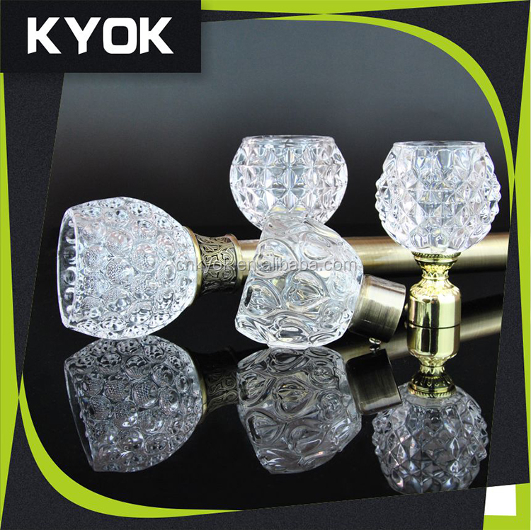 Beautiful glass Curtain Rod Finials, cyrstal curtain ends