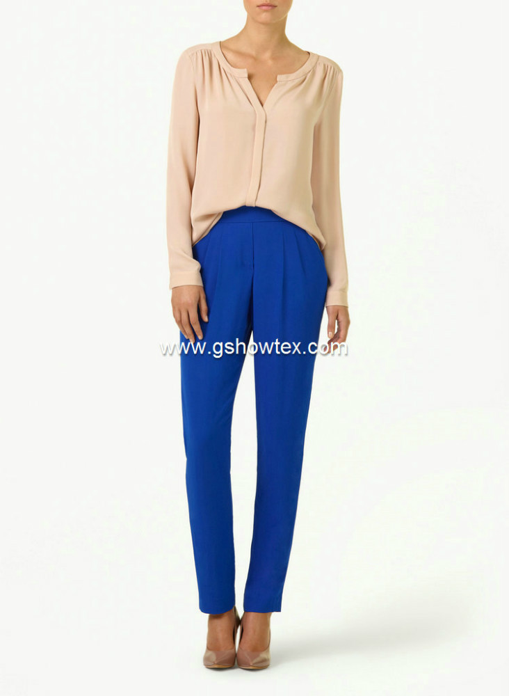 Solid color chiffon mateirl formal blouse and pants for lady