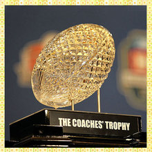 Customized American Crystal Football Model For Coach Trophy Awards