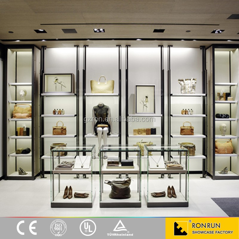High end lady clothes store interior decoration custom made display furniture display table and cabinet