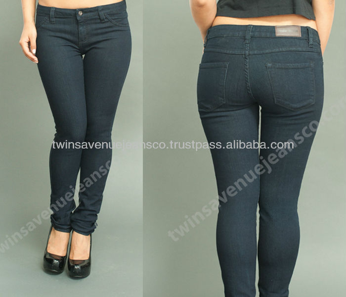 New Arrival Rosie Jeans Classic Women Fashion Low Rise Blue Black Denim Stretch Skinny Jeans