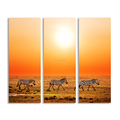 HD Grassland Scenery Canvas Oil Painting 3 Zebra Canvas Wall Art Customized Canvas Prints 3 Panels Home Decoration