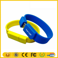 Factory cheap price silicone bracelet usb wristband usb flash memory stick 32MB-128GB