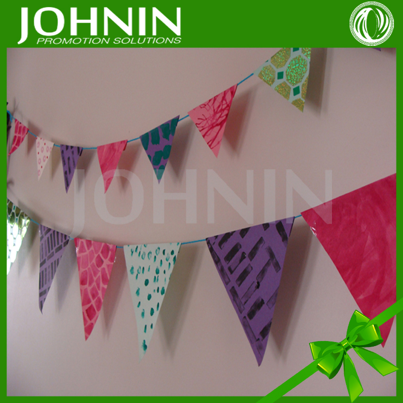 Party/festival use custom design paper bunting string flag