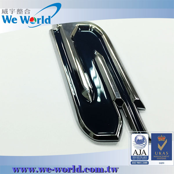 Zinc alloy glossy finish die casting adhesive chrome letters car