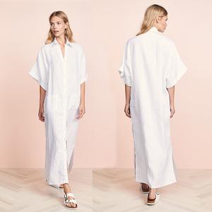White linen maxi dress plus size ladies