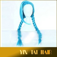 2015 130cm Fashionable Supreme Synthetic Hair Hero Jinx Long Blue Braid Cosplay Costume Wig for Halloween Christmas