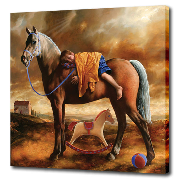 High quality Canvas wall art prints artwork a boy and two horse by arsen kurbanov