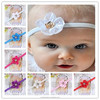 2015 NEW satin ribbon flower Baby Hairbands + elastic hair bands+children hair accessories for kids jewelry BTS013