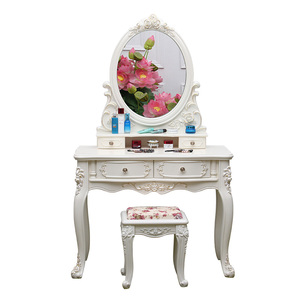 Home Furniture Ivory Vanity Oval Mirror 4 Drawers Wood modern dressing table