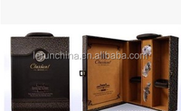 exclusive luxury leather wine carrier,folding leather wine box