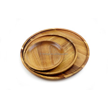 Solid wood multi-purpose acacia round plate dish set
