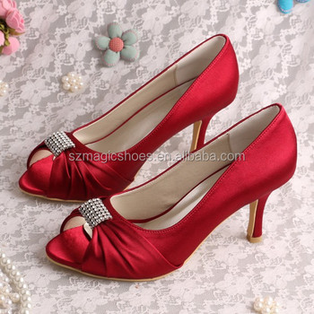 Women Wine Red Bridesmaid Shoes Wedding 8CM