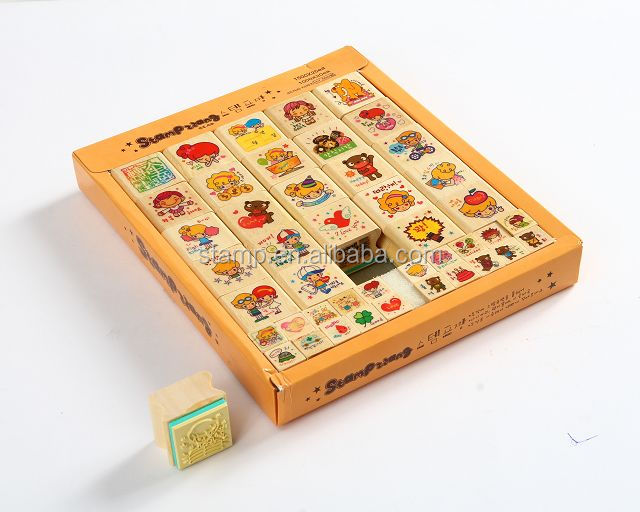 newly designed lovely children wood toy stamp
