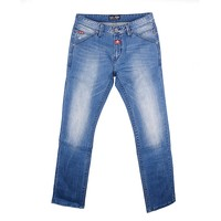 New product jeans men 100% cotton blue jeans wrinkled straight leg jeans with moustache effect