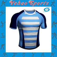 Custom sublimated rugby jersey stripe design polyester spandex fabric
