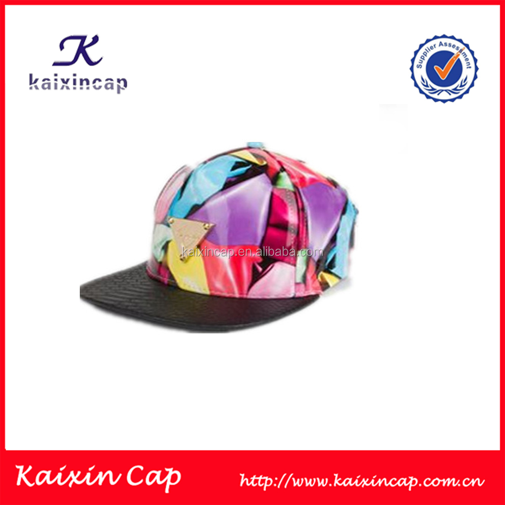 customized printed colorful leather with metal logo flat brim snapback