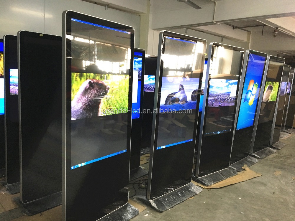 43 50 55 58 inch ultra thin PC all in one capacity 10points touch screen floor stand lcd advertising display/digital signage