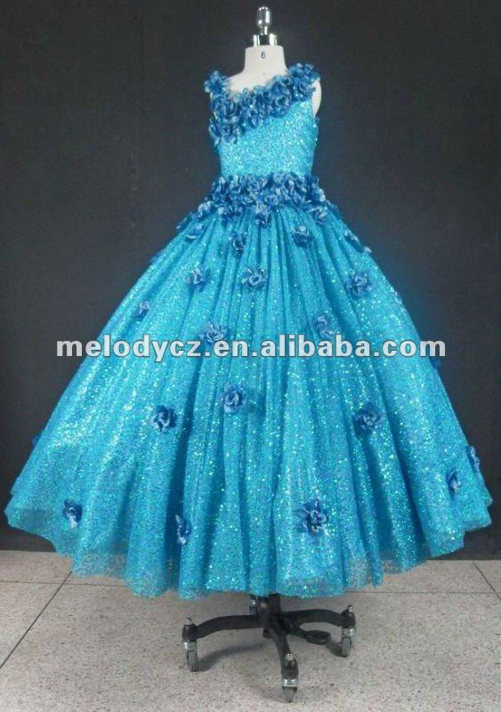 2014 high fashion turquoise little girls pageant flower sequined prom dress