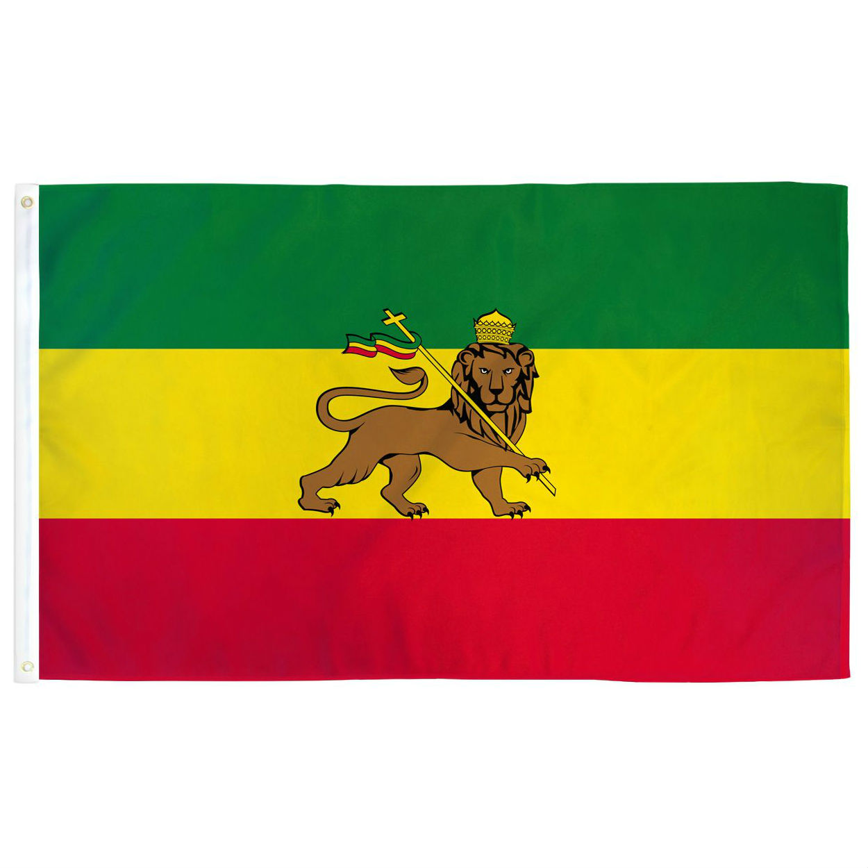 Wholesales stock 100% polyester silk screen printing double stitched 68D Polyester Ethiopia Lion (Light Duty) Flag
