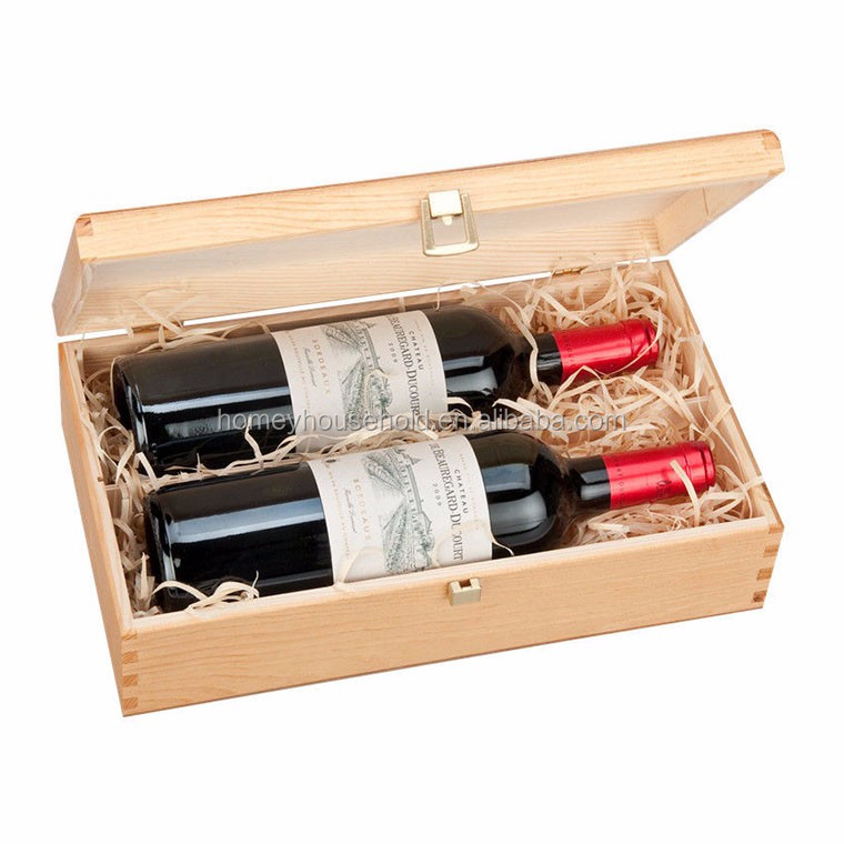 Simple Handicrafts Gift Wine Box Cheap Handmade Craft Natural Wood