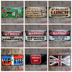 Warning Lunch UK Flag Car Number Licence Plate Embossed Tin Sign Bar Pub Cafe Wall Party Decorations Metal Art Poster