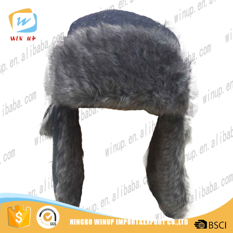 winter warm Russian ski ear flap cap faux fur trapper hat