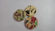 factory wholesale custom laser engraved wooden buttons wholesale fashion mickey printing wood buttons for children garment