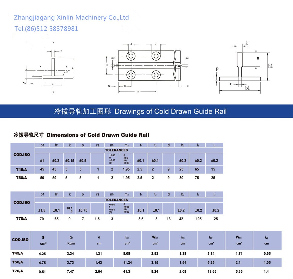 Elevator guide rail T9(T70/L AND T70/A)