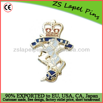 silver plate crown metal lapel pin