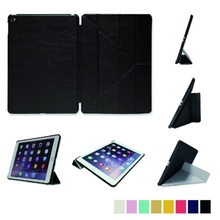 Hot Sales fashion and cool PU smart case for iPad air1/air2 folded 11 styles tablet case for ipad air 2