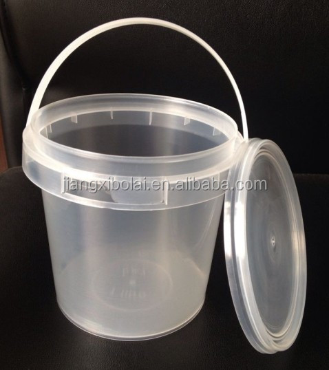 clear small food grade PP 1.5L plastic yogurt bucket with lid and handle
