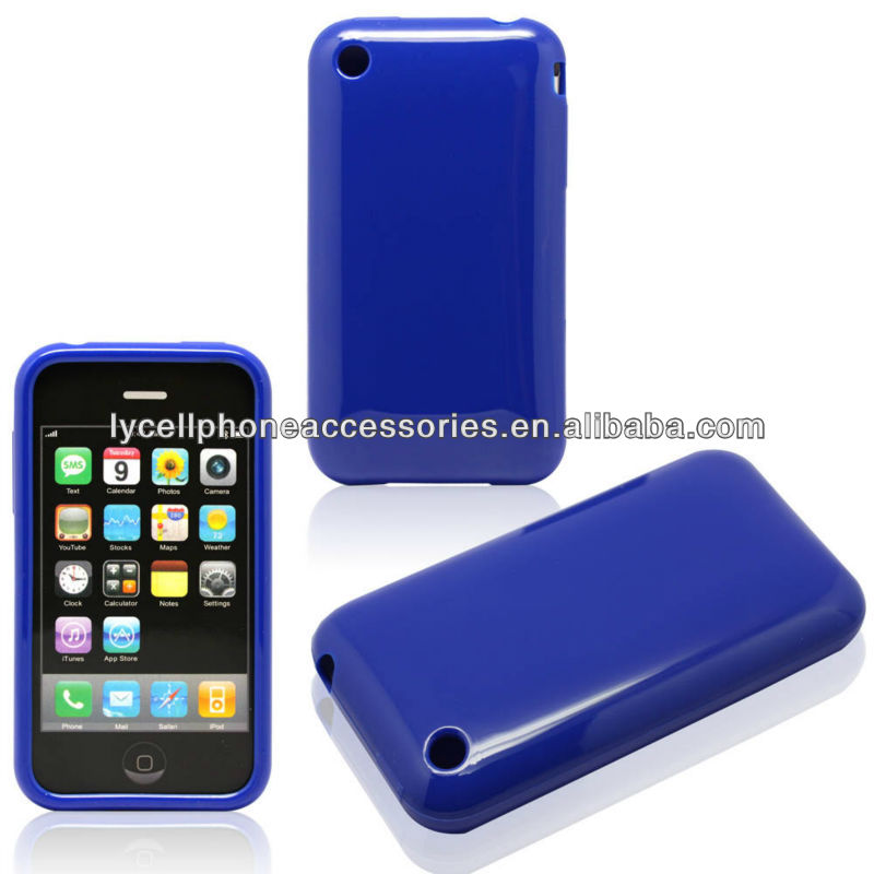Solid Blue Phone Covers For Apple iphone 3G 3GS Protective TPU Skin Case